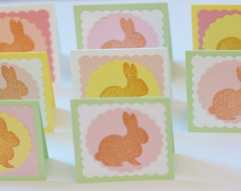 Pastel Easter Mini Cards, Bunny Cards for Easter, Small Spring Cards