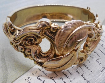 Hinged Wide Cuff Bracelet w/ Ornate Gold Overlay