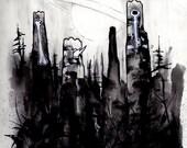 Four (Original Black and White Illustraion)