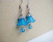 Bright Blue Flower Bud Earrings