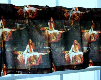 """Valance Black Pictorial Lady of the Shallott  41""""x13"""""""