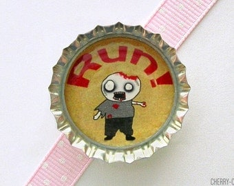 Zombie Run Bottle Cap Magnet - boyfriend birthday gift, for boyfriend, zombie magnet, zombie home decor, zombie party favor, zombie kitchen