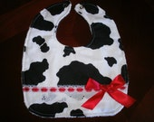 Baby Girl Bib, Newborn Gift, Shower Gift, Toddler, Baby Bib, Red, Cow Girl, Bib, Fancy, Trendy, Farm, Chic. Red Bow, Country,Newborn, Baby