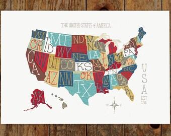 Whimsical USA Typography Map, 14x11 Art Print