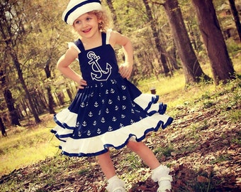 Girls Nautical Dress, Girls Ruffle Dress, Girls Navy Dress, Girls Anchor Dress, Girls Sailor Dress, Girls Cruise Dress, Pageant Dress