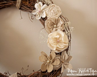 "Rustic Wreath - Gorgeous 18"" Rustic Grapevine Wedding Wreath, Vintage Wedding, Country Wedding or Home"