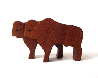 Wooden Ark Animals Buffalo Bison Miniature Toys Noah's Ark Western Play Set Hand Cut Scroll Saw