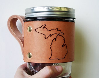 Leather Jar Wrap- Michigan Mug Wrap