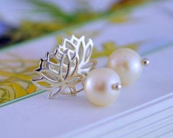 Real Pearl Earrings, Child, Lotus Ear Posts, Genuine Freshwater Drops, Sterling Silver, Flower Girl Jewelry, June Birthstone