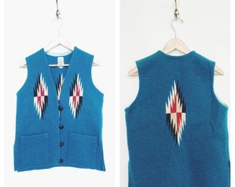 1960's / 1970's Turquiose Handwoven CHIMAYO vest