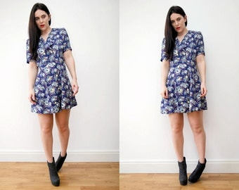 Vintage Floral Grunge Revival 90s Mini dress