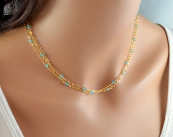 Apatite and Gold Necklace, Bright Aqua Gemstone Jewelry, Multistrand Chain, Sterling Silver, Summer, Dainty, Free Shipping