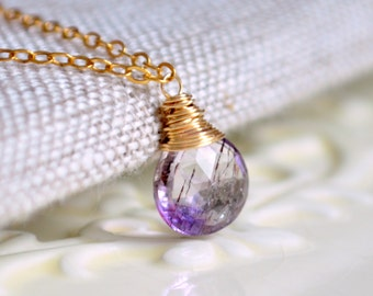 Gemstone Necklace, Moss Amethyst, Real Semi Precious Stone, Lavender Lilac Purple Pendant, Simple Gold Jewelry, Free Shipping