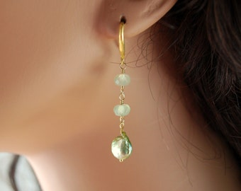 Prehnite Earrings, Spring Green, Genuine Freshwater Coin Pearls, Gemstone, Wire Wrapped, Gold Jewelry, Free Shipping