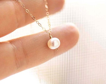 Tiny Pearl Necklace, Dainty Freshwater Pearl Necklace, Gold Fill, Sterling Silver, Rose Gold, Bridal, Bridesmaid Necklace, Everyday Necklace
