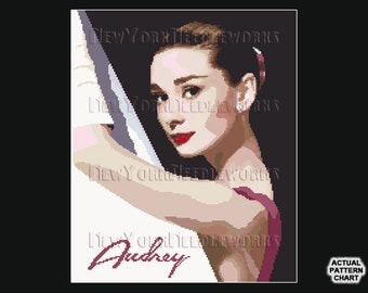 Audrey Hepburn Cross Stitch, Cross Stitch Pattern, Cross Stitch, Hepburn Abstract, Audrey Hepburn, Classic Movie Star from NewYorkNeedlework
