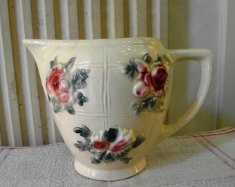 French Majolica Water JUG DIGOIN with ROSES