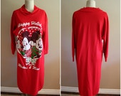 Vintage Mickey and Minnie Mouse Happy Holidays Nightgown - One Size Fits All - Disney - Mickey Mouse Shirt - Christmas