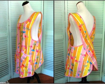 Ladies Full Cross Back Apron/Smock/Beach Coverup-Summer, Tropical, Beach Motif-Size Med