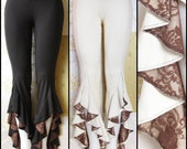 Tribal Belly Dance Hula Hoop Festival Pants with Brown Lace, in Black or Cream White Bamboo