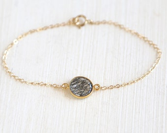 Tourmilated Quartz Connector Bracelet // 14K Gold Filled// simple everyday delicate jewelry