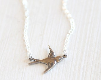 Sterling Silver Swooping Bird Necklace - simple everyday jewelry