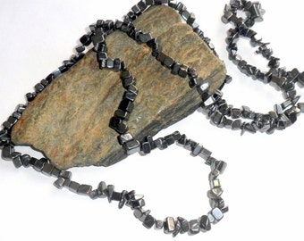Black Hematite Long Chip Necklace earthegy