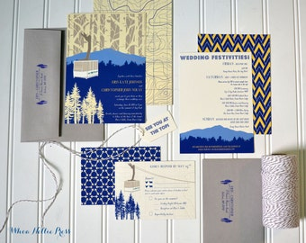 Chairlift/Gondola Aspen Mountain Resort Wedding Invitations