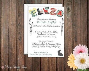 Baby Shower Invitation - Woodland Alphabet and Bunny Silhouette