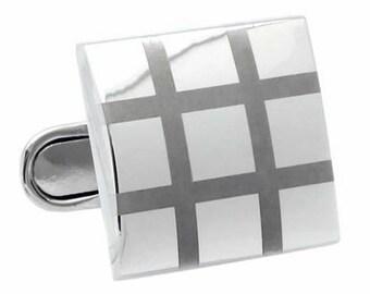 Silver Color Line Check Square Cufflinks