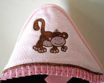 Infant Size  hooded towel playful monkey applique beach pool bath