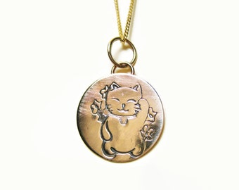 Lucky Cat 14k Necklace Maneki Neko Pendant Good Luck Charm