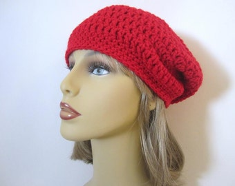 Slouchy Hat in Red - Crochet Slouchy Beanie Hat