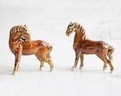 Vintage Pair Porcelain Horse Figurines - Brown Grazing Display Decor