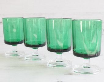 Vintage Green Drinking Glasses - Emerald Shot Drinking Barware Summer Glassware Serving Home Decor