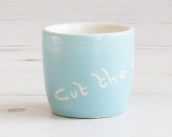 Vintage Devonmoor egg cup holder - Cut the Cackle Blue Breakfast Serving Pottery