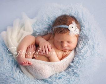 SALE - Soft Blue, Cozy, Cuddly Faux Fur Nest - Perfect Newborn Photography Prop - Plush Long Pile, Stuffer, Filler, Layering, Pictures, Blue
