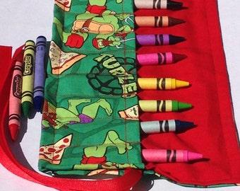 Crayon Roll Up Crayon Holder  Teenage Mutant Ninja Turtles Michael Angelo Donatello Raphael Leonardo - Holds 8 Crayons