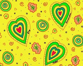 "Liz, Amanda, and Neko - 14"" x 11"" Abstract, Modern, Bright, Colorful, Fun, Pink, Blue, Hearts, Love, Yellow, Green, Clovers, Art Print"