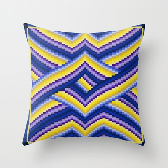 Free Throw Pillow Quilt Pattern : Items similar to Bargello quilt style throw pillow cover, all occasion gift for quilter ...
