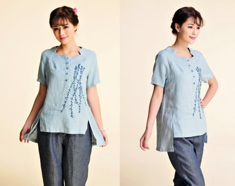 Embroidered Women's linen blouse / Cute Shirt Easy to Wear!/ 30 Colors/RAMIES