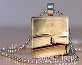 Book Love Necklace - (BLA1 - Gray, Gold, Red) - Scrabble Tile Pendant with Chain