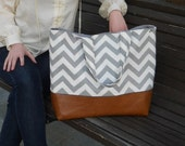 Chevron diaper bag,  Large diaper bag leather bottom, tote bag, navy canvas with leather, Gray Bag, Zig Zag,