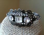 French Rhinestone Cuff Bracelet, Wedding Assemblage Bracelet, Vintage Bride Jewelry, Boutique Jewelry