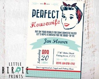 Housewife Retro BRIDAL SHOWER INVITATION - 1950's Perfect Housewife Invitation 50's Domestic Invitation Kitchen Bridal Shower Invitation