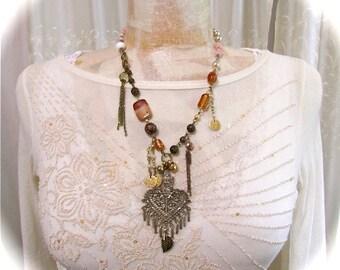 Upcycled Bohemian Necklace, hippie gypsy, boho beaded necklace, repurposed, y style necklace, gypsy necklace, boho pendant jewelry, s5