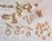 Gold Tone Clasps Assortment 32 Pieces Box Clasps Toggle Clasps Magnetic Clasps Destash