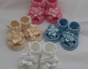 Crochet Baby Sandals - Handmade Baby Girls Booties - 100% Cotton Shoes - 0-3 Months - Baby Gift Idea