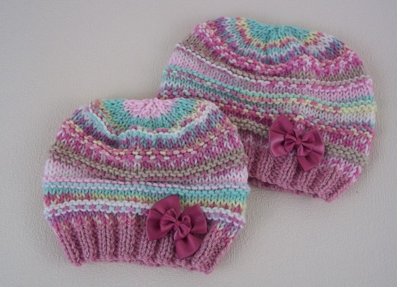 Hand Knitting Patterns For Babies : Hand Knitted Baby Hat Handmade Girls Hat Mock Fair-Isle