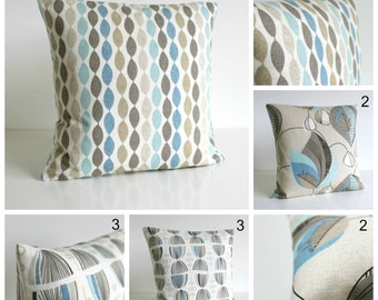 20x20 Decorative Pillow Cover, 20x20 Cushion Cover, 20 Inch Pillow Sham - Duck Egg Collection